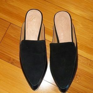 Halogen black leather mules slip on flats 6.5